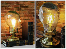 Vintage Re-purposed Clear Green Glass Mannequin Head Up-cycled Industrial Lamp