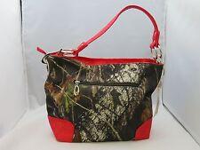 New Womens Mossy Oak Purse Handbag  Realtree Camo Handbag With Red Trim