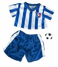 "Bleu football soccer teddy tenue avec boule s'adapte 15"" -16"" (40cm) build a bear"