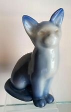 "SWEET SIGNED ROOKWOOD BLUE TONED CAT 6 3/4"" PAPERWEIGHT 1952"