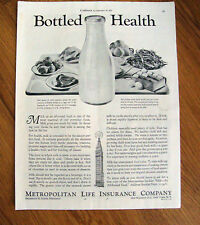 1934 Metropolitan Life Insurance Ad  Bottled Health  Milk