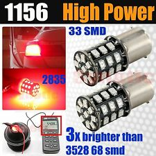 2x 1156 High Power 2835 SMD Chip LED Red Turn Signal Brake Tail Stop Light Bulbs