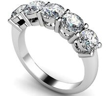 2.00CT ROUND FIVE DIAMOND ETERNITY RING 925 STERLING SILVER ANNIVERSARY BAND