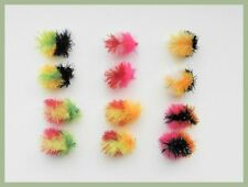 12 Three Tone Blob Trout Fishing Flies 10, Mixed Colours