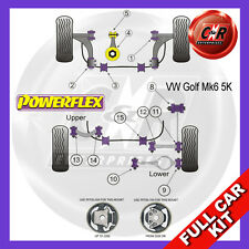VW Golf Mk6 2WD 09-12 Powerflex Full Bush Kit Frt Wishbone Frt Bushes Camber Adj