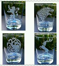 Set of 4 Engraved Game of Thrones tumbler Glasses - New