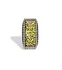 NWT Guess Fancy Gold Metal Rhinestone Long Leopard Stone Stretch Band Ring