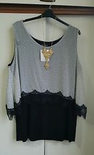 BLACK AND WHITE POLKA-DOT  LAGENLOOK LACE LTOP SIZE 26 BNWT RRP £29.00