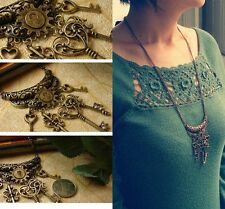 New Women Vintage Bronze Fashion Jewelry Lucky Key Pendant Necklace Long Chain