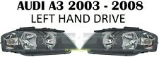 AUDI A3 8P 2003- 2006 FRONT HEADLAMPS HEAD LAMP LIGHT HEADLIGHTS H7+H7 PAIR LHD