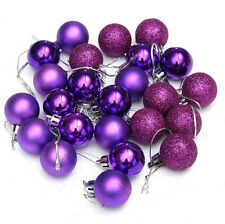 24PX Christmas Tree Hanging Decor Glitter 3cm Ball Bauble Xmas Party Ornament
