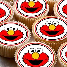 24 Edible cake toppers decorations Elmo Face