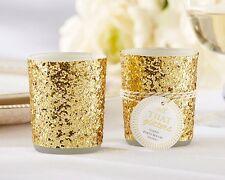 """48 """"All That Glitters"""" Gold Glitter Votive Tea light Holder Wedding Shower Favor"""