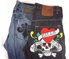Affliction/Ed Hardy Lot of 2 Men's Straight Leg Jeans/Shorts 32 x 29 [BK9622]
