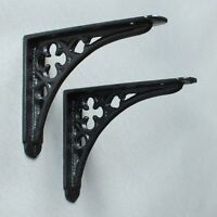 "Pair of BLACK 5x4"" SMALL ANTIQUE VINTAGE GOTHIC CAST IRON SHELF WALL BRACKETS"