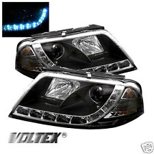 2001-2005 VOLKSWAGEN PASSAT B5 DRL LED PROJECTOR HEADLIGHTS LIGHTBAR LIGHT BLACK