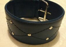 Soft Double Leather Lurcher WHIPPET Dog Collar 16 inch MEDIUM Blue Stud ex wide