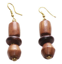 Magnificent Light Brown Spinner Style & Gorgeous Wooden Stack Earrings(Zx156)