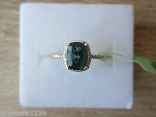 Blue Fluorite White Topaz Accent Ring Platinum Over Sterling Silver Sz 6,8,9 Opt