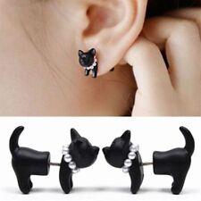 Fashion Women 1Pcs Punk Black Beauty Crystal Pearl Cat Earring Ear Stud Jewelry