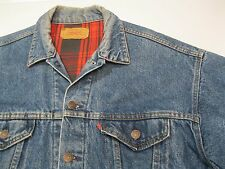 VTG Levi USA Buffalo Plaid Lined Blue Denim Jean Trucker Jacket L – Nice