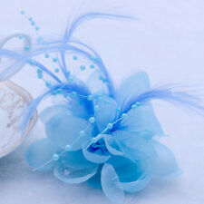 Hot Blue Pearl Corsage Hair Clip Flower Fascinator Feather Hairpin Party Wedding