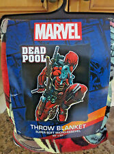 "NEW Marvel Comics Deadpool Super Soft Micro Raschel Throw Blanket- 50"" x 60"" NWT"