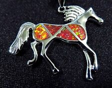 """Sterling 925 Silver SF Pendant & Chain Red Lab Fire Opal RUNNING HORSE 1 1/4"""""""