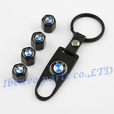 Key chain Metal Black Car Wheel Tyre Tire Stem Air Valve Cap For BMW Vehicles