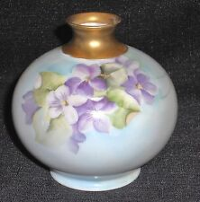 VINTAGE T & V LIMOGES FRANCE DEPOSE BULBOUS VASE ~ HP PURPLE FLORAL ~ SIGNED