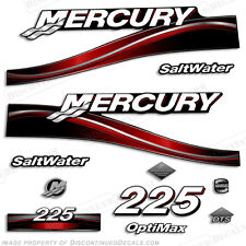 2005 Mercury Red 225hp Saltwater Optimax Outboard Engine Decals Reproductions