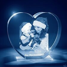 Christmas 3D Laser Crystal Glass Personalized Etched Engraved Small Heart Shape