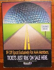 Authentic Disney Epcot Park AAA Member Pass Ticket Advertisement Sign 13.5x18in.