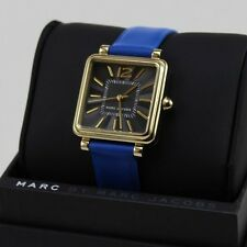 NEW AUTHENTIC MARC BY MARC JACOBS VIC BLUE LEATHER GOLD WOMEN'S MJ1438 WATCH