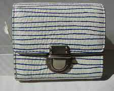 Fossil Women's Riley Print Small Flap Wallet White Blue Leather SL6619126 New