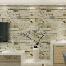 10m 3D Red Brick Stone Rock Print Natural Theme Wallpaper Roll Decor 4 colors