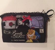Disney Beauty & The Beast 3 Pack Panties Set Size Large Gift New In Package!