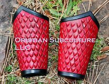 Short Dragon Scale Leather Bracers Arm Armor SCA LARP armour Ren wrist cuffs