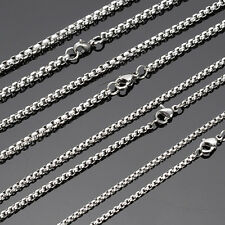 3mm 24inch Wholesale Lots Silver Stainless Steel Box Chain Necklace Hot Sell