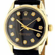Mens Rolex 14K Gold Shell Oyster Perpetual No-Date Watch Black Diamond 1024
