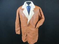 "ORIG SHEARLING MENS LEATHER/SHEARLING CAR COAT SIZE 42/44"" CHEST BROWN CODE-H735"