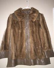 Vtg Ladies Light Brown Mink Fur & Leather Button Snap Front Jacket Coat M