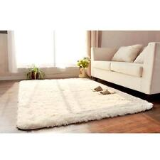 Super Soft Plush Fabric Solid Carpet Floor Rug Living Room Carpet Mats White DH