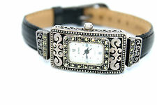 Vintage ART DECO Modernist BOMA Sterling Silver MARCASITE Ornate MOP Wristwatch