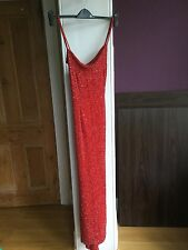 Frank Usher Dusk Red Sequined Long Evening Cocktail Prom Ball Dress Size 12