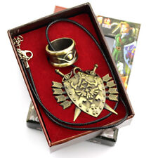 New Legend of Zelda Link Hylian Shield Links And Gold Ring Wearable  Pendant Set