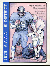 1979 Texas State AAAA Playoff Game Program Temple v Klein Nov. 23