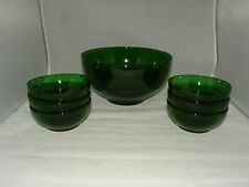 7 PIECE ANCHOR HOCKING FOREST GREEN POPCORN SET