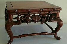 "Superb Rare Old Chinese Hand Carved Rose Wood Detailed Bamboo Stand 8 1/2"" Width"