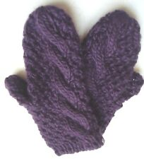 Ladies Women's Fownes Cable Stich Mittens,O/S, Purple